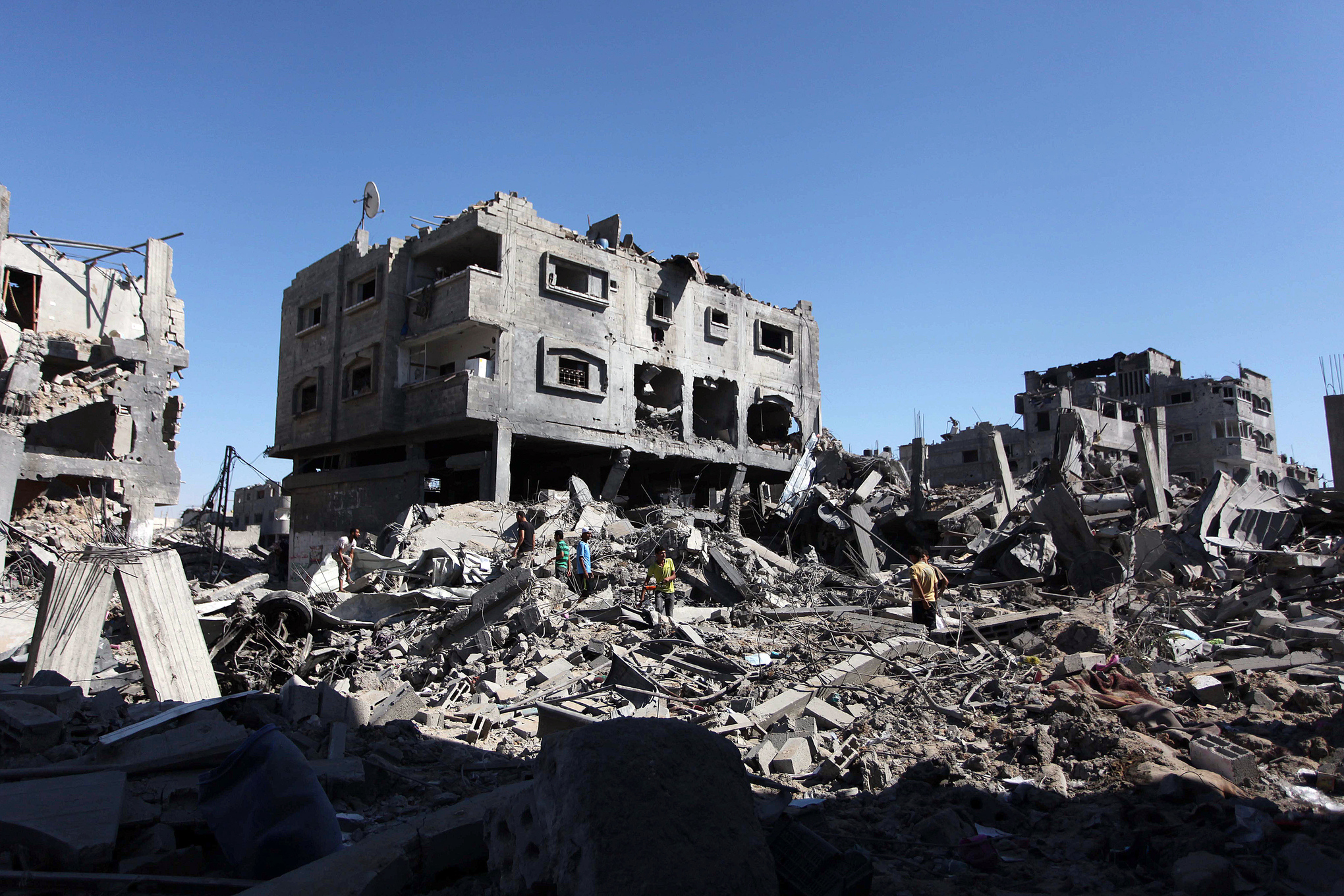 Destroyed houses in Gaza's Shujaya neighborhood (Ashraf Amra/Anadolu Agency/Getty)