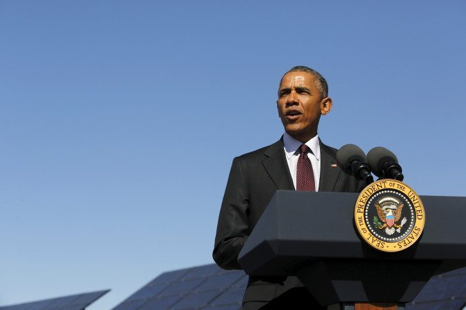 U.S. President Barack Obama delivers remarks on clean energy after a tour of a solar power array at Hill Air Force Base, Utah