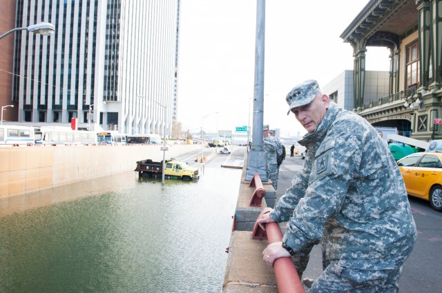 Army Chief of Staff Gen. Raymond T. Odierno observes the damages caused by Hurricane Sandy in New York City, Nov. 2, 2012.